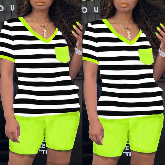 Shyfull Casual Striped Green Two-piece Shorts Set