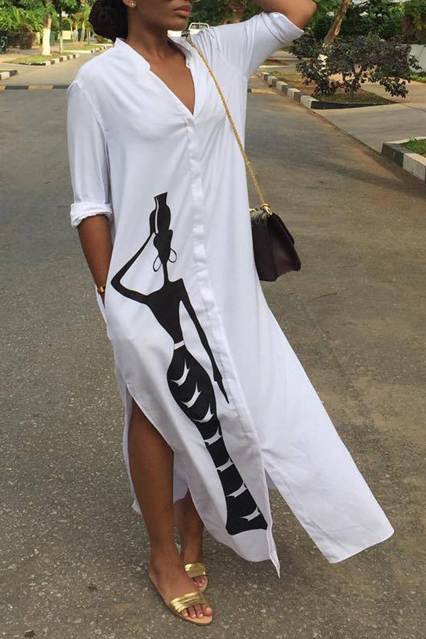 Shyfull Casual Printed Slit White Ankle Length Dress