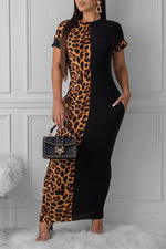 Shyfull Casual Leopard Printed Patchwork Ankle Length Dress