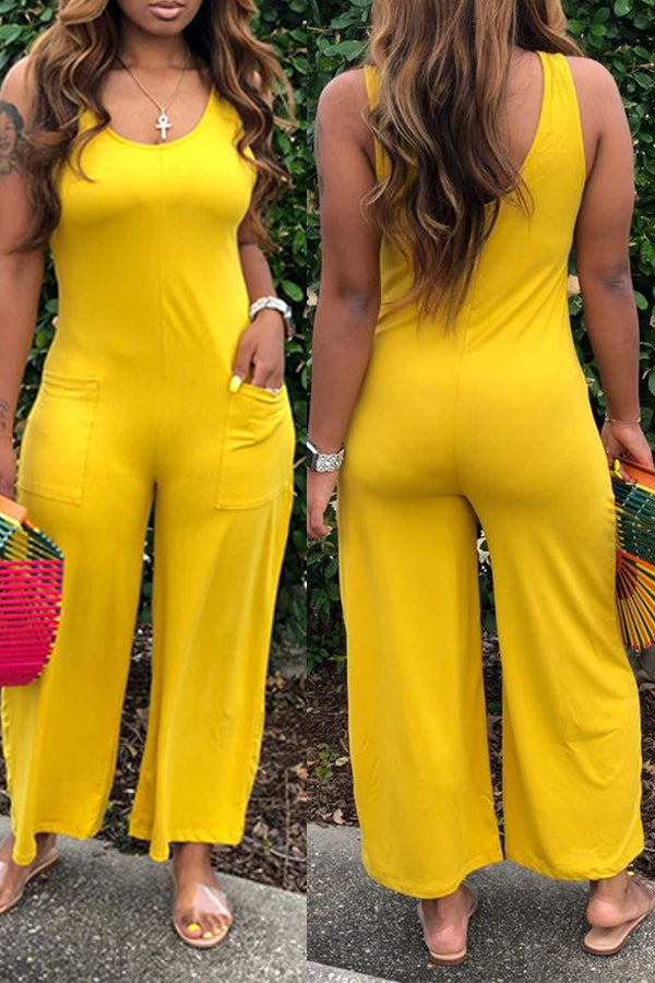 Shyfull Casual Pocket Patched Yellow One-piece Jumpsuit