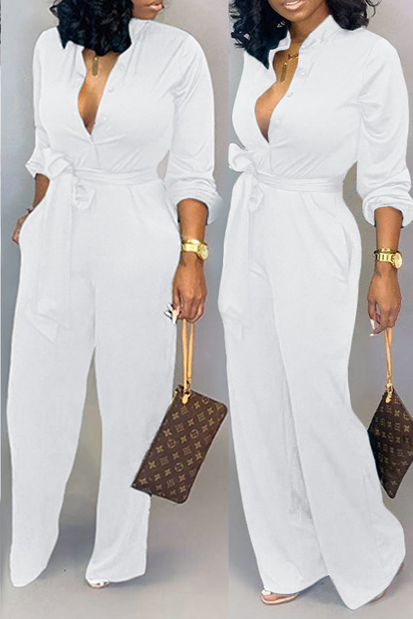 Shyfull Work Lace-up Loose White One-piece Jumpsuit
