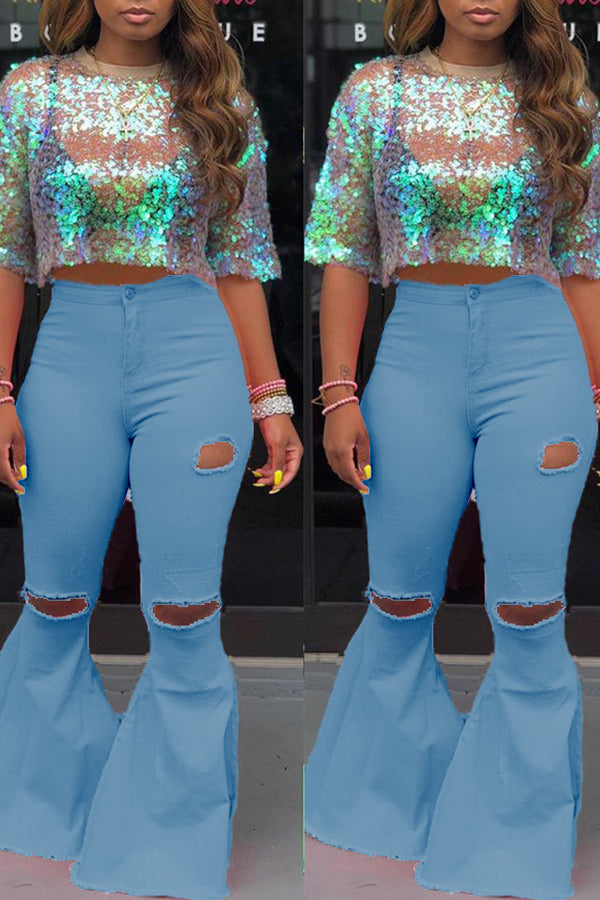 Shyfull Casual Mid Waist Broken Holes Baby Blue Pants