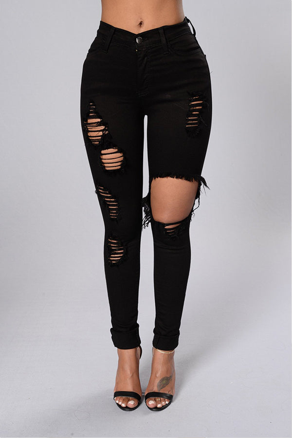 Shyfull Leisure Hollow-out Black Jeans