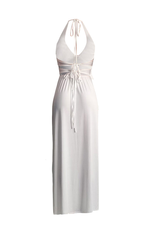 Shyfull Trendy Spaghetti Straps White Floor Length Dress