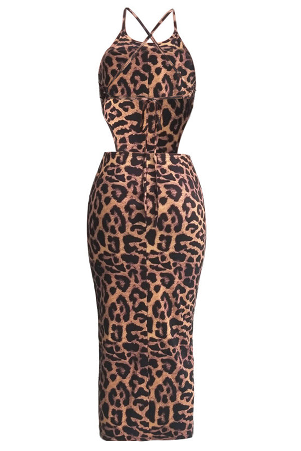 Shyfull Sexy Leopard Printed Mid Calf Dress