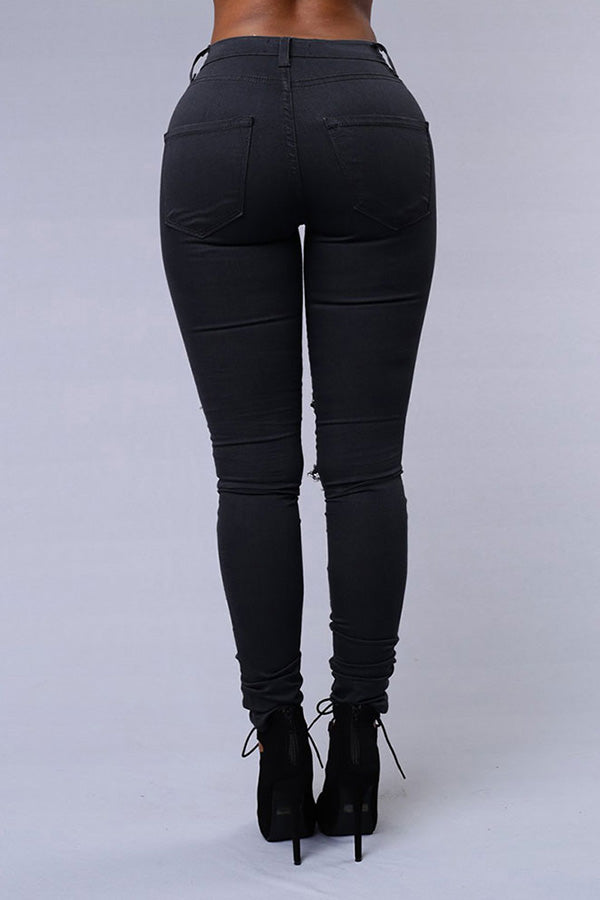 Shyfull Trendy Broken Holes Black Pants