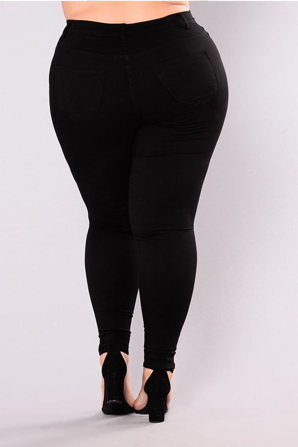 Shyfull Casual Hollow-out Black Plus Size Jeans