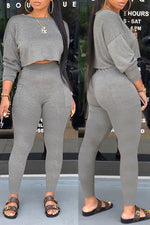 Shyfull Casual Basic Grey Two-piece Pants Set