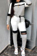Shyfull Sportswear Hooded Collar Patchwork Grey Two-piece Pants Set