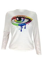Shyfull Casual Eye Printed White T-shirt