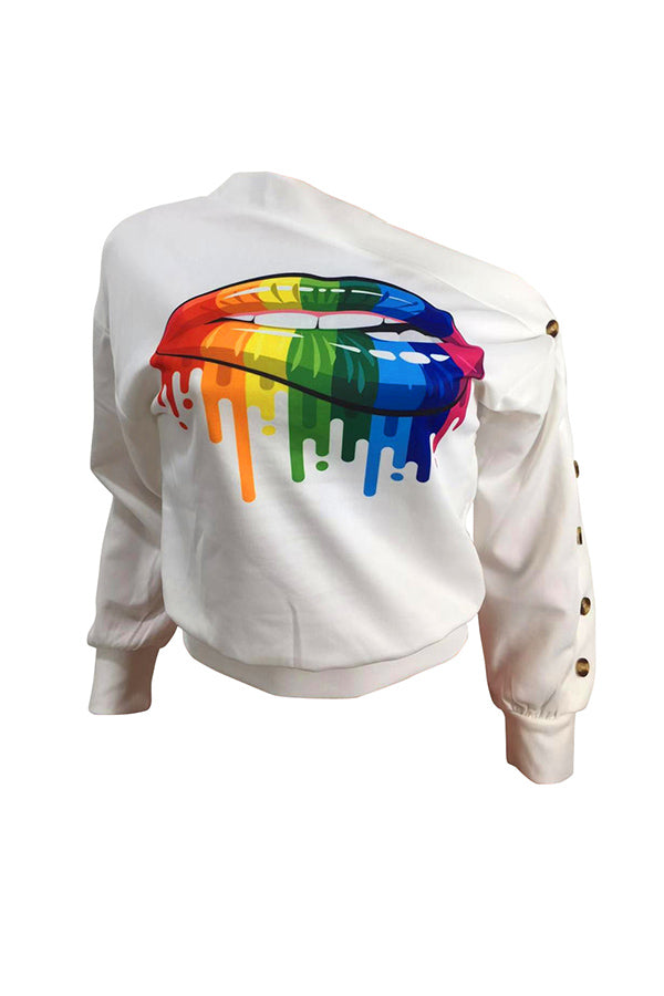 Shyfull Casual Lip Printed White Sweatshirt Hoodie