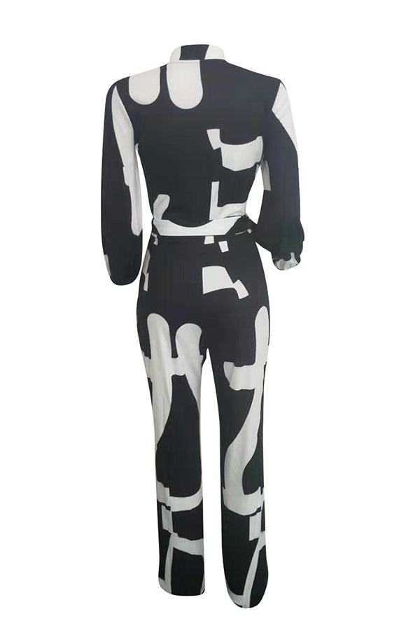 Shyfull Casual Printed Black One-piece Jumpsuit