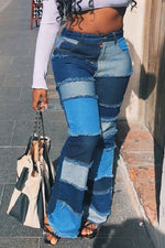 Shyfull Stylish Patchwork Blue Jeans