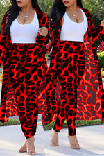 Shyfull Casual Leopard Printed Red Plus Size Two-piece Pants Set(Without Tank Top)