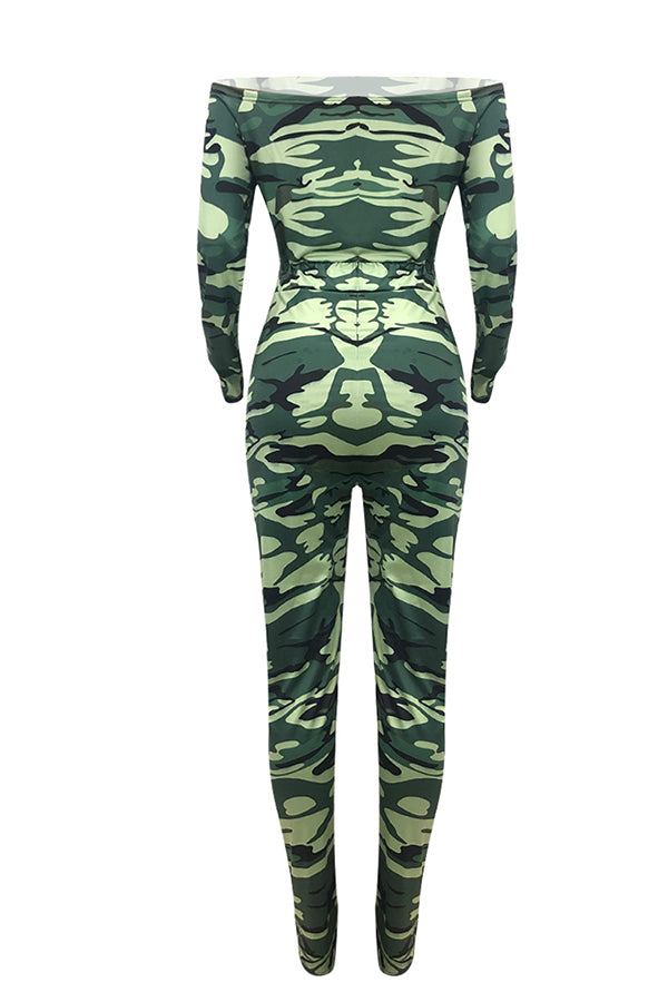 Shyfull Trendy Camouflage Printed Army Green One-piece Jumpsuit