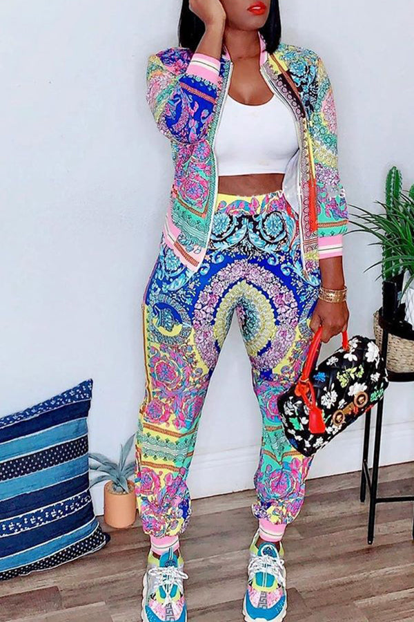 Shyfull Leisure Printed Green Two-piece Pants Set