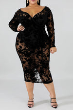 Shyfull Sexy V Neck Hollow-out Black Mid Calf Plus Size Dress