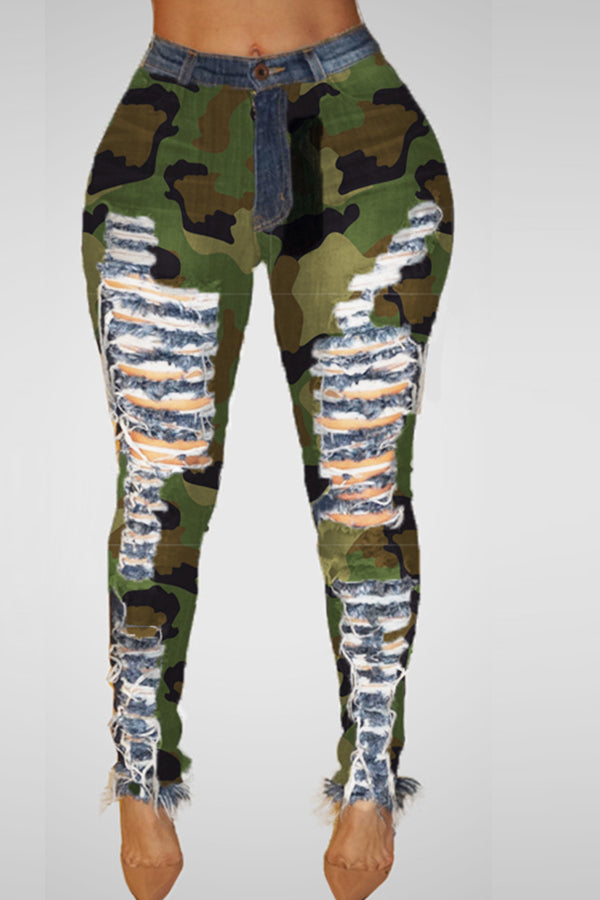 Shyfull Casual Broken Holes Camouflage Printed Jeans