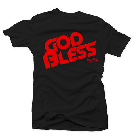 GOD BLESS | BLACK & RED TEE