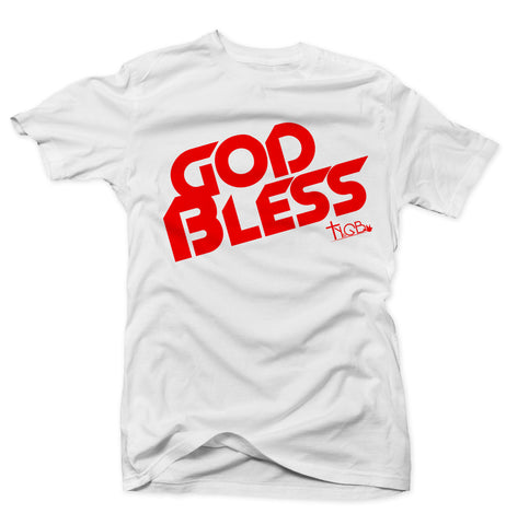 GOD BLESS | WHITE & RED TEE