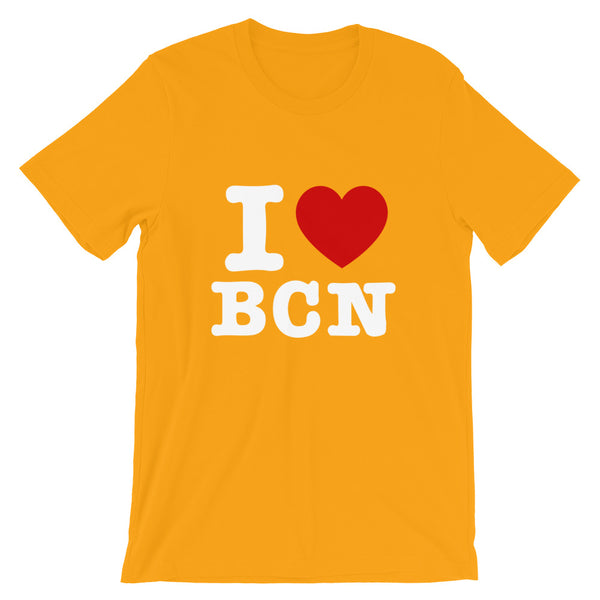 T-shirt I LOVE BARCELONE jaune