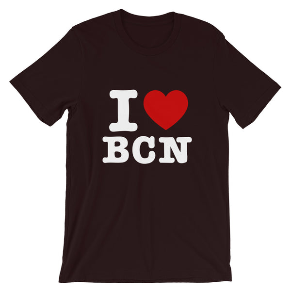 T-shirt I LOVE BCN couleur bordeaux blaugrana