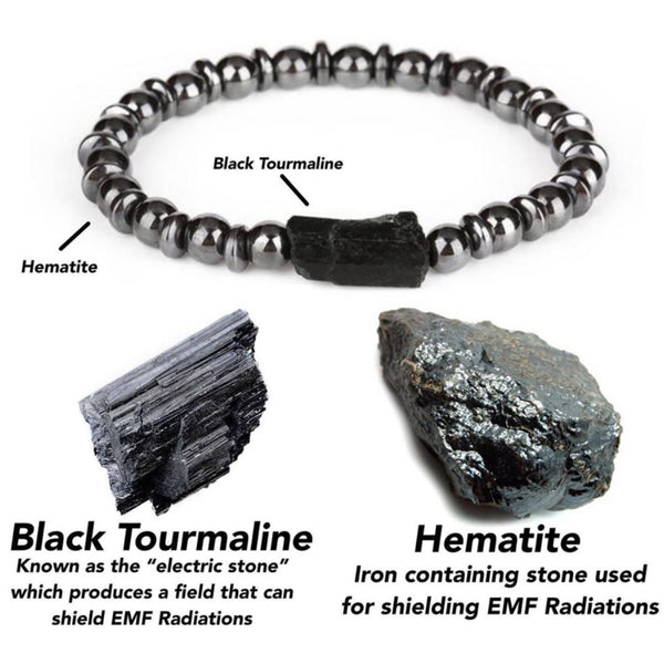 EMF Shielding Tourmaline + Hematite Ultimate Protection Bracelet Mens or Womens *Shipping Charge Per Bracelet*