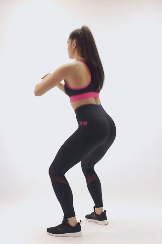 Sports Leggings Deep Side Pockets Black FitPink video