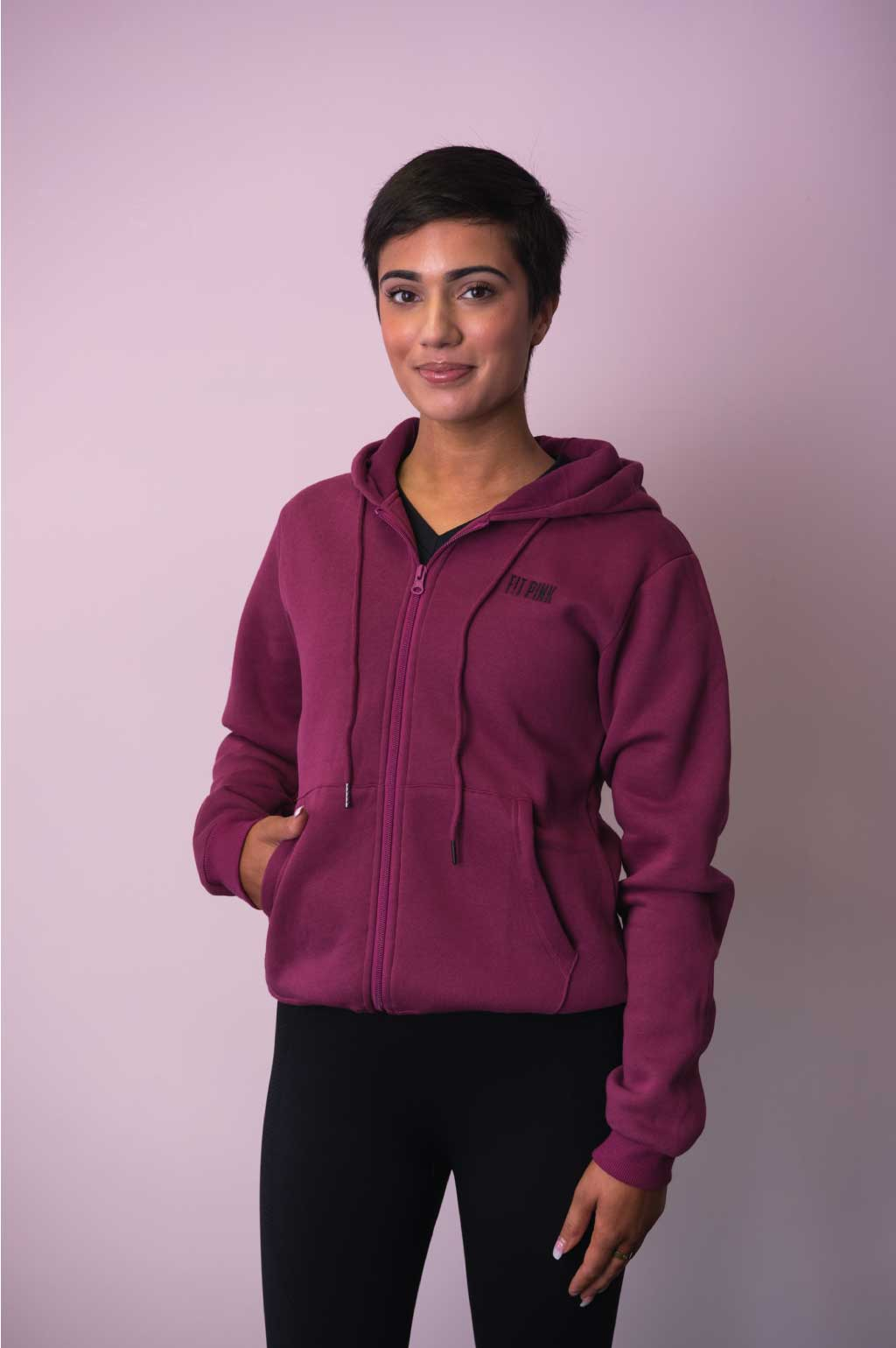 Luxurious FitPink Fleece Hoodie Deep Magenta