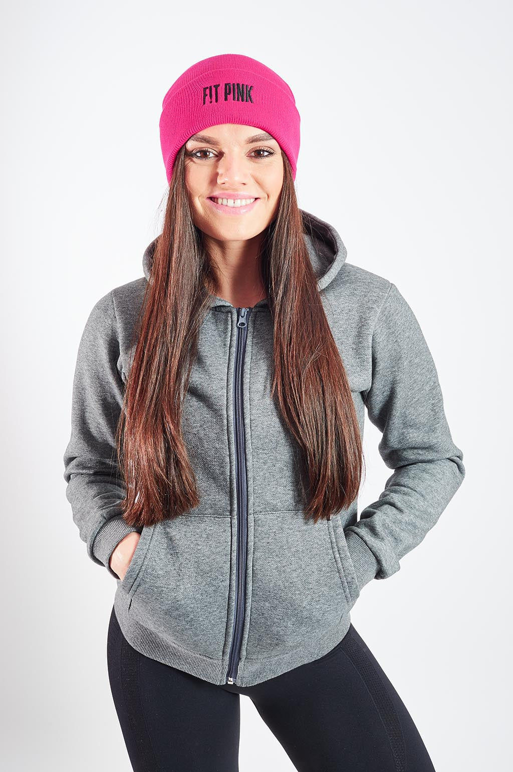 Luxurious FitPink Fleece Hoodie Grey Beanie