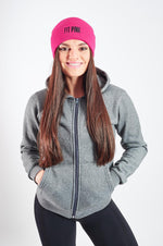 Load image into Gallery viewer, Luxurious FitPink Fleece Hoodie Grey Beanie