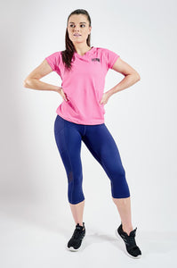 Cropped Sports Leggings With Deep Side Pockets in Blue