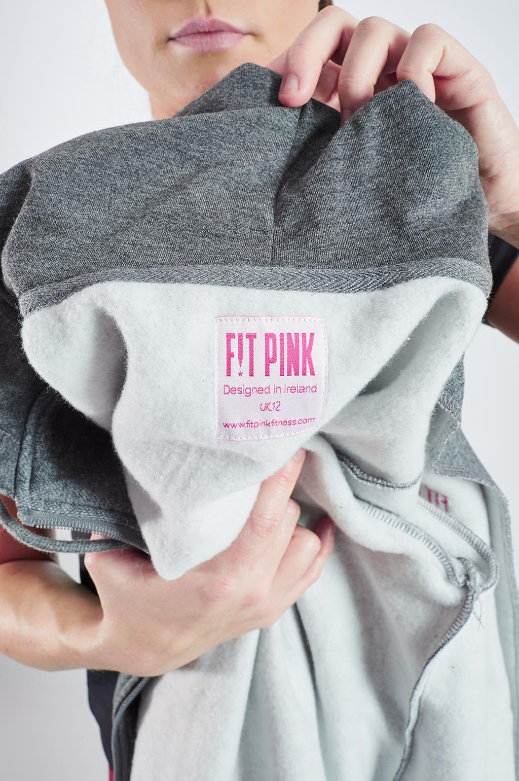 Luxurious FitPink Fleece Hoodie Grey