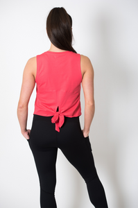 Knot Back Cotton Vest in Coral