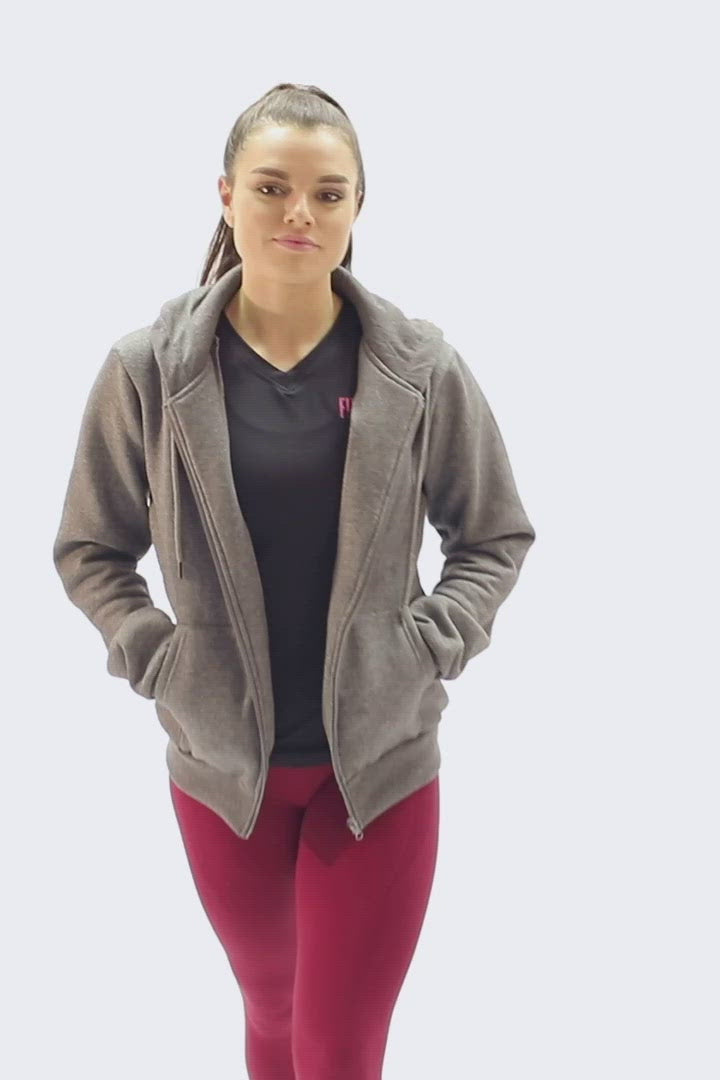 Luxurious FitPink Fleece Hoodie Grey video
