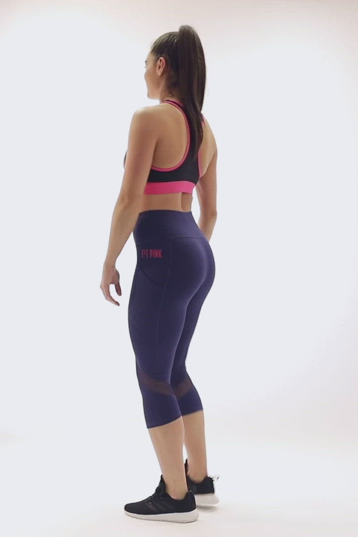 Cropped Sports Leggings Deep Side Pockets Blue Video FitPink
