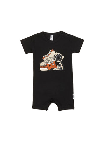 HUXBABY GOLD FOOD SHORT ROMPER