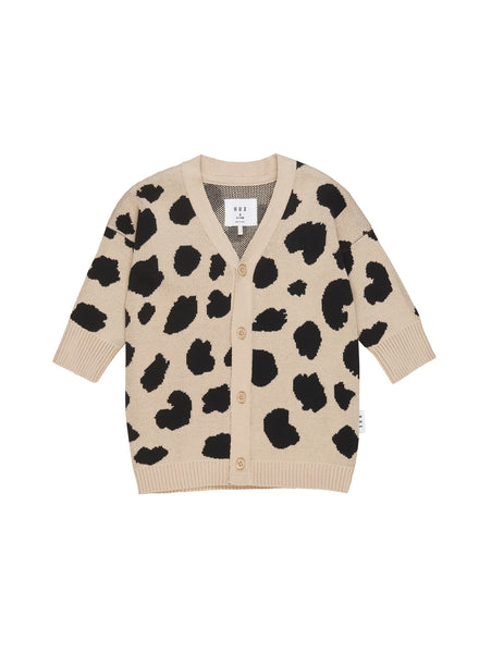 HUXBABY ANIMAL SPOT KNIT CARDI