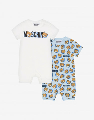 MOSCHINO ALLOVER+PRINT ROMPER GIFT SET