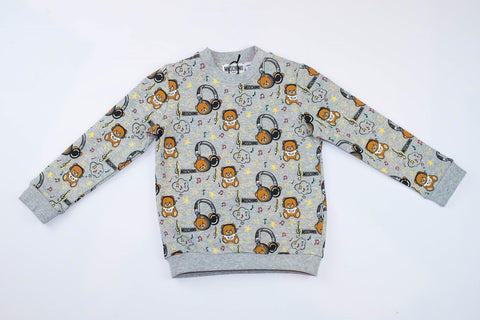 MOSCHINO KIDS SWEATSHIRT WITH ALLOVER MUSIC TOY BEAR PRINT