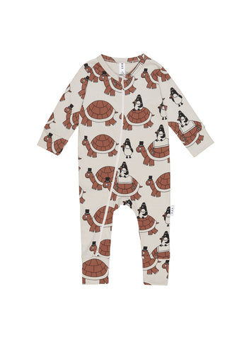 HUXBABY TURTLE TOUR ZIP ROMPER