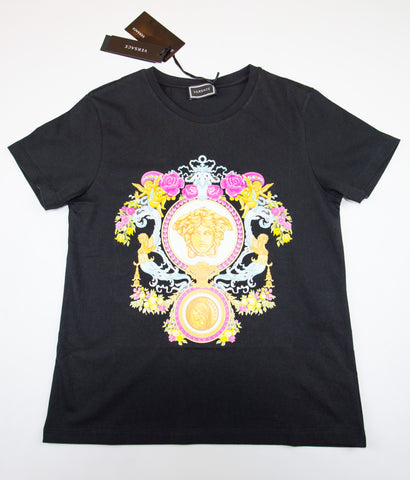 YOUNG VERSACE T-SHIRT WITH MUTICOLOR MEDUSA