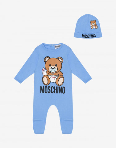 MOSCHINO TOY BEAR BABYGROW AND HAT GIFT SET