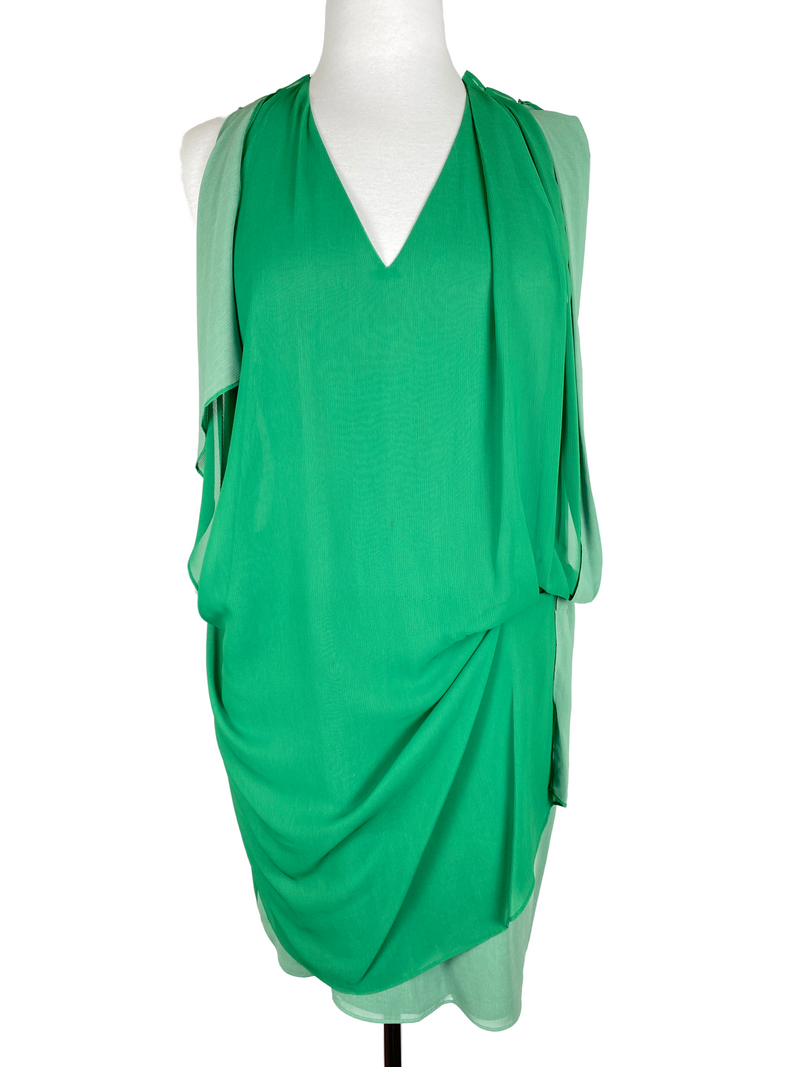 ACNE STUDIOS - MALLORY CONTRAST DRESS GREEN - SZ 40 / 12 AUS