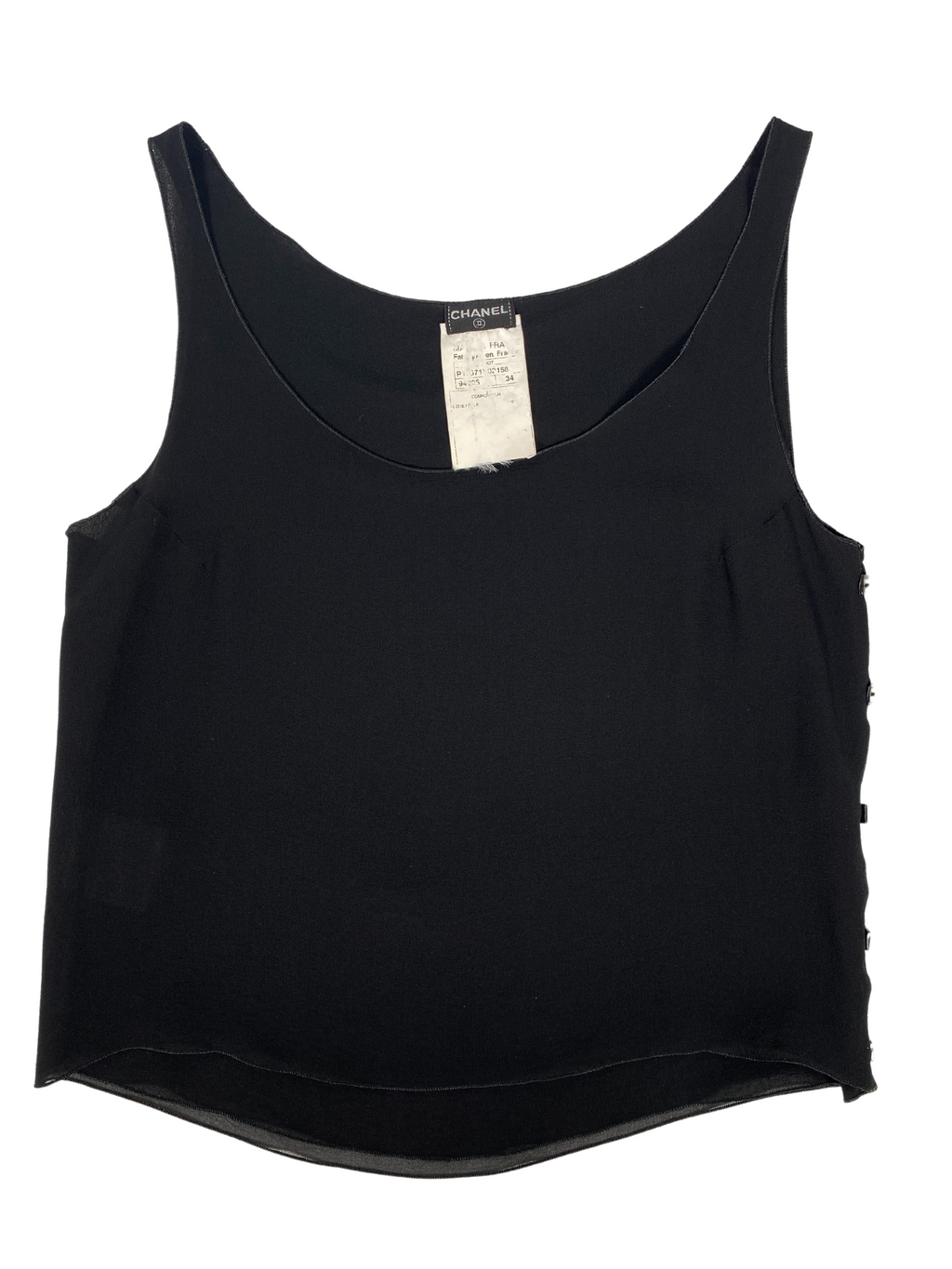 CHANEL - VINTAGE BLACK SILK BUTTONED CROPPED TANK - Sz S
