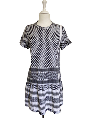 CECILIE COPENHAGEN - DRESS 2 BLACK & WHITE SHORT SLEEVES - SZ S
