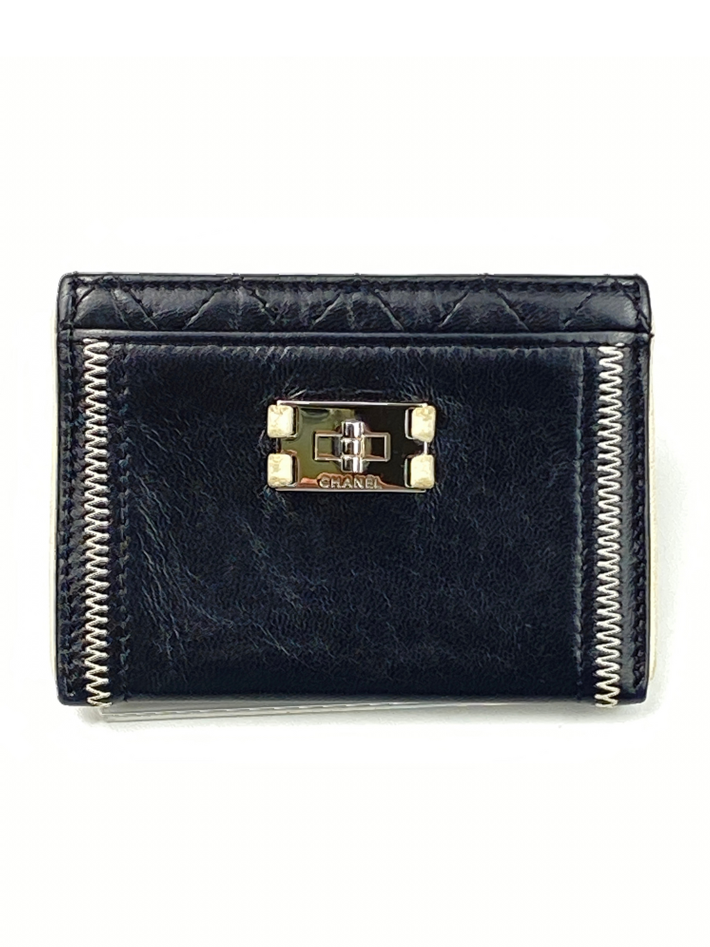 CHANEL - BLACK LEATHER 2.55 CARD HOLDER WHITE TRIM