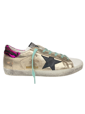 GOLDEN GOOSE - GOLD SUPERSTAR WITH ZEBRA PRINT HEEL TAB - SIZE 39