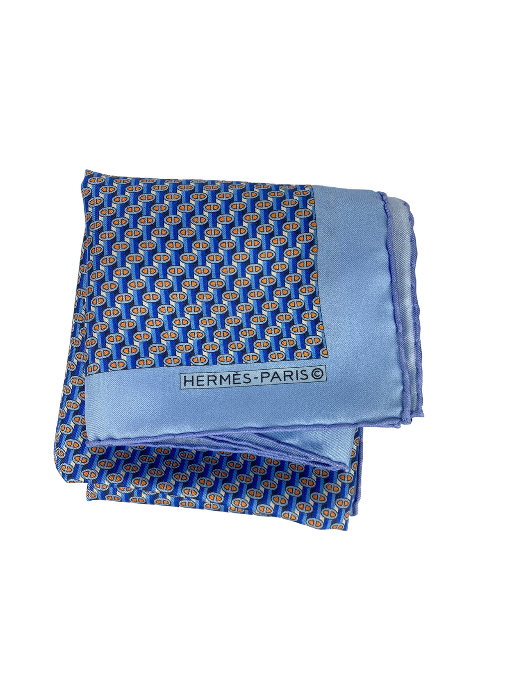 HERMÉS - LIGHT BLUE SILK POCKET SQUARE
