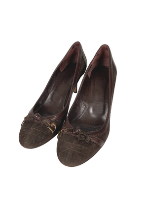 DIOR - VINTAGE BROWN SUEDE PUMPS - SZ 37.5